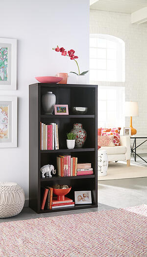 13507 - 4 Shelf Bookcase BLKWNT Life-X2