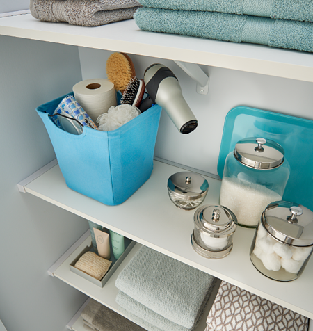 Bathroom Linen Closet_Fabric Bins_ClosetMaid