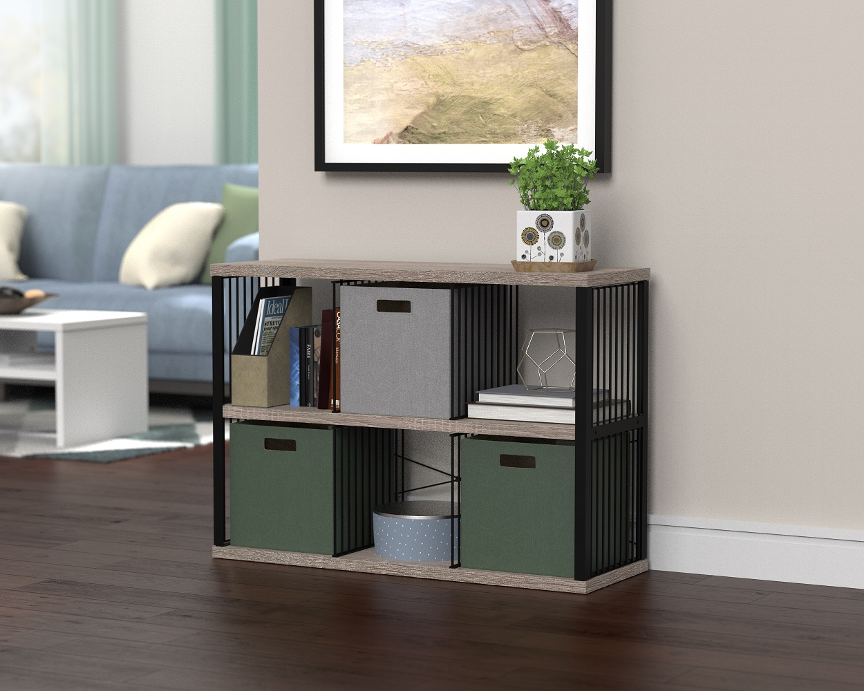 cube storage with fabric drawers