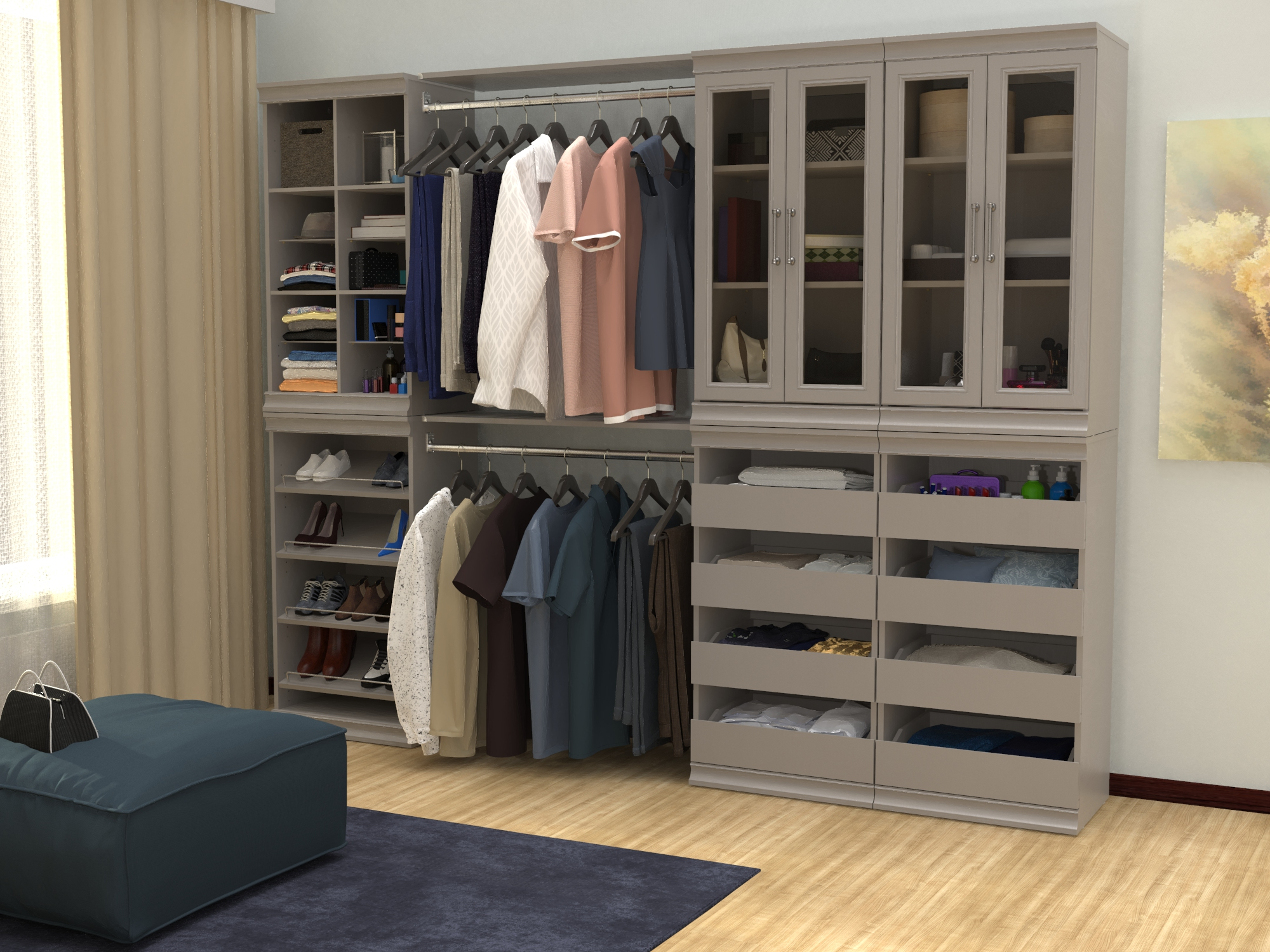 wood closet in a neutral color