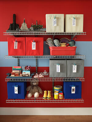 CM ShelfTrack White_Family Shelves with Fabric Drawers-XL